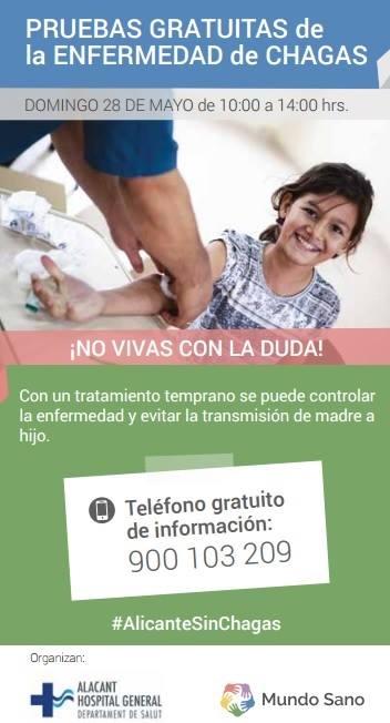 PRUEBAS GRATUITAS DE LA ENFERMEDAD DEL CHAGAS. HOSPITAL GENERAL DE ALICANTE 28 DE MAYO