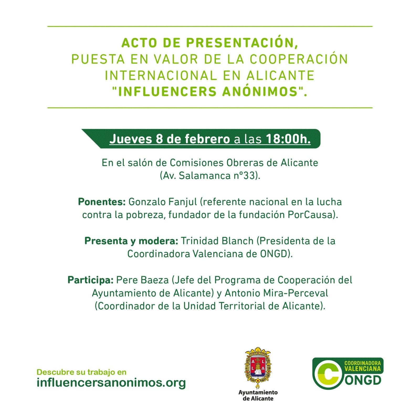 """ACTO PRESENTACIÓN, puesta en valor de la cooperación internacional en Alicante """"Influencers Anónimos"""""""